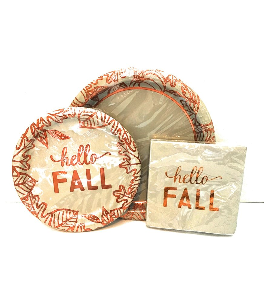 sc 1 st  Fall Home Decor & Fall Words Plates and Napkin Sets