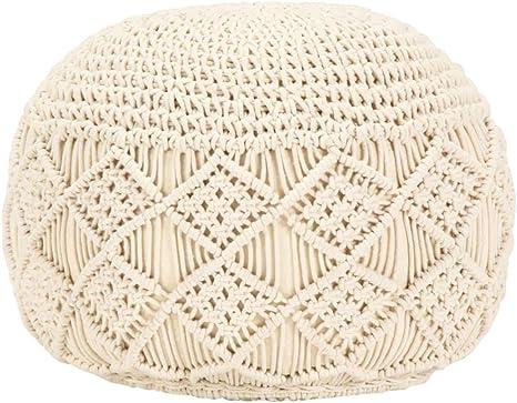Pouf Kissen Rundes Kissen Fußhocker Sitzhocker mit gewebtem Bezug Sitzkissen