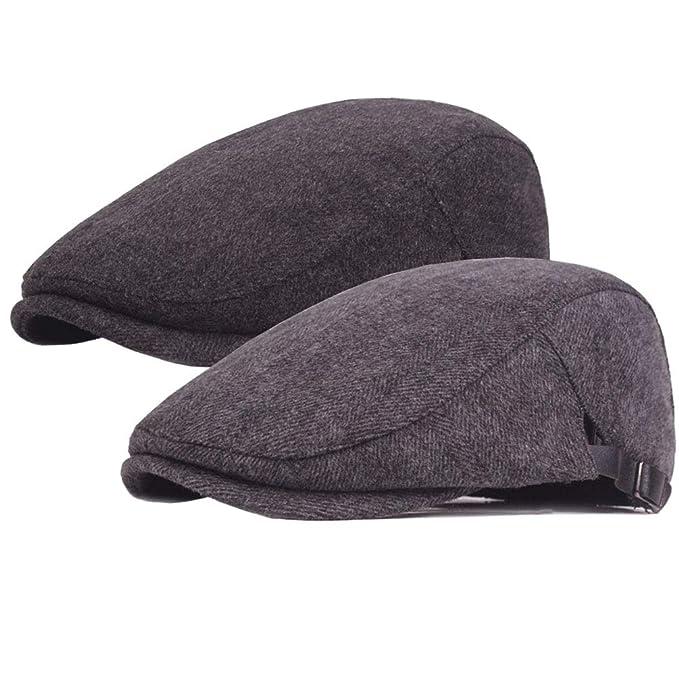 b29ca5a8cd 2 Pack Men's Warm Wool Tweed Newsboy Gatsby Ivy Cap Cabbie Driving ...