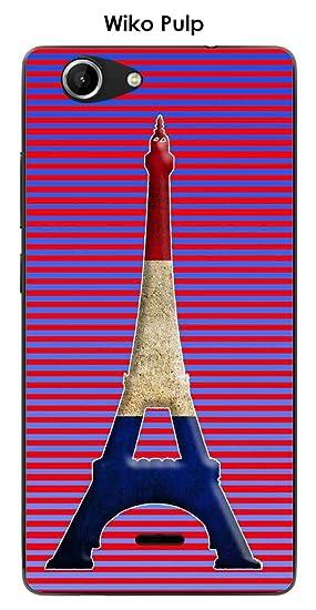 Onozo Carcasa Wiko Pulp Design París Torre Azul Blanco Rojo ...