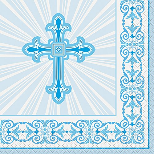 Unique Party Radiant Cross Bleu religieux 16serviettes en papier