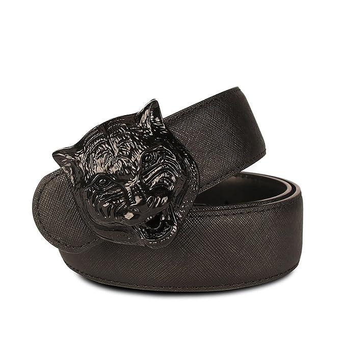 534f0110f38 Olyly Fashion tiger head buckle Leather belt