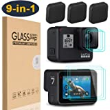 【9 in 1】HEYUS Premium 9H Hardness Ultra-Clear Tempered Glass Screen Protector Front + Back Glass Lens Protector Film + Lens Cover Cap for Go Pro GoPro Hero7 Black HD (2018)/6/5 Hero6 Hero5