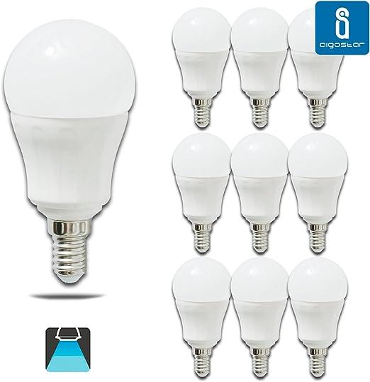 Pack de 10 Bombillas LED P45, 7W, casquillo delgado E14, 490 lumen, luz blanca 6400K: Amazon.es: Iluminación