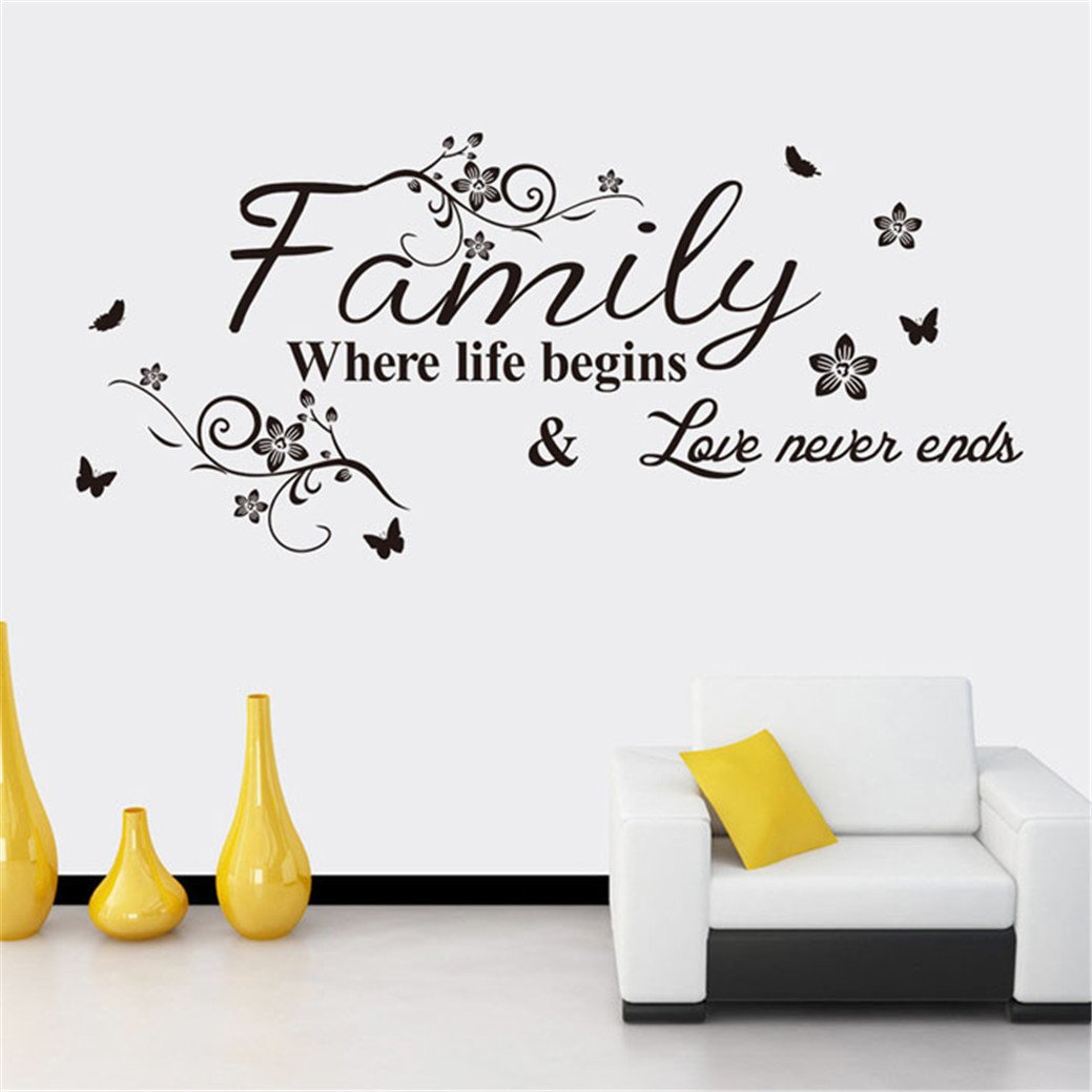 TIFENNY Hot Art Family Beautiful Flower Wall Stickers Home Words Decor Wall Sticker by TIFENNY (Image #2)