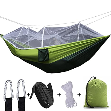 Camping & Hiking Outdoor Camping Hammock With Mosquito Net Tree Ropes Carabiners For Travel Hiking Beach Backyard Backpacking Sleeping Bag Bed