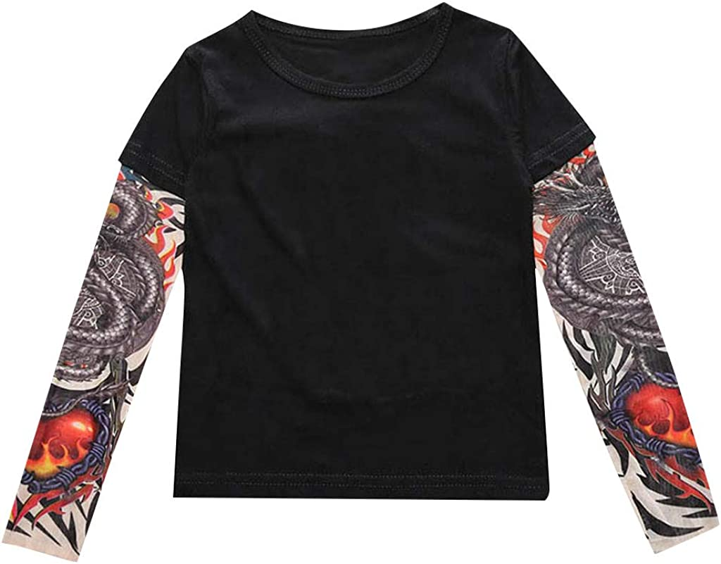 1-6 Years,SO-buts Toddler Baby Kids Boys Autumn Winter T-Shirt with Mesh Tattoo Printed Sleeve Tee Shirt Tops Clothes