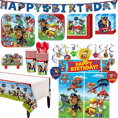 Paw Patrol Birthday Party Kit, Includes Happy Birthday Banner and Decorations, Serves 16, by Party City -