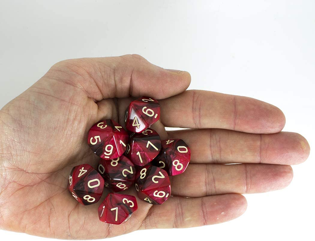 Blood God 8 D10 set Paladin Roleplaying Red and Brown Dice