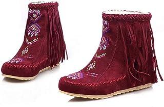Ankel Boots Femmes Round Toe Seude Shoelace Tassel Broderie Bottes plates Bottes courtes Chaussures décontractées 2017 Auturm Winter New Eu Taille 34-43 ( Color : Red , Size : 35 )