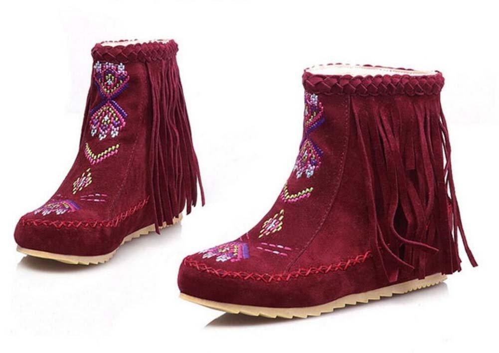 Ankel Boots Femmes Round Toe Seude Shoelace Tassel Broderie Bottes plates Bottes courtes Chaussures décontractées 2017 Auturm Winter New Eu Taille 34-43 ( Color : Red , Size : 41(no return) )