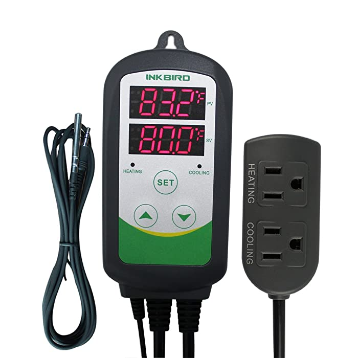 "Inkbird Dual Stage Temperature Controller + NTC Sensor, AC 100V - AC 240V. (ITC-308S + 1.97"" NTC Probe)"