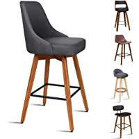 ALFORDSON 2 x Counter Bar Stools 360° Swivel Kitchen Dining Chair with Footrest and Backrest Grey