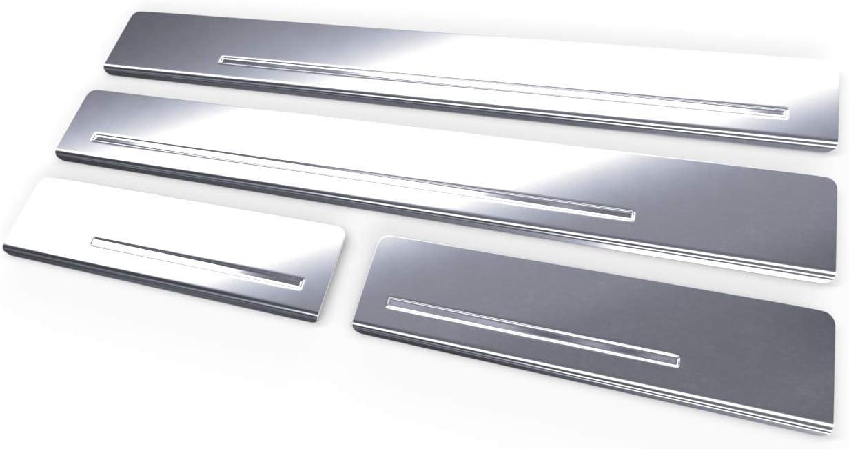 argento 5902538820707 Kit battitacco auto in accciaio satinato 4 pz