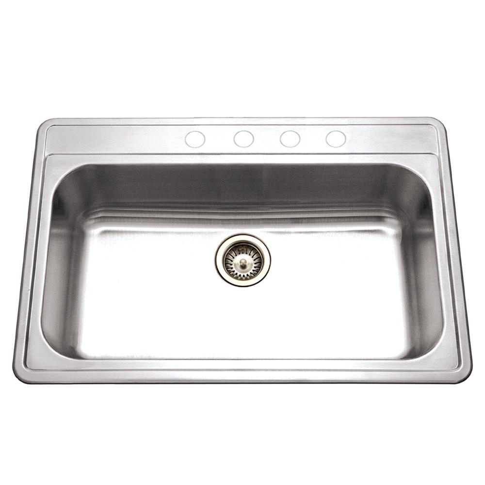 houzer pgs312241 premiere gourmet series topmount stainless steel 4hole large single bowl kitchen sink amazoncom