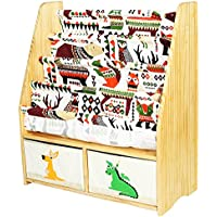 MallBest Kids Bookshelf Book Rack Childrens Sling Bookcase and Toys Organizer Shelves Natural Solid Wood with Two Storage Boxes