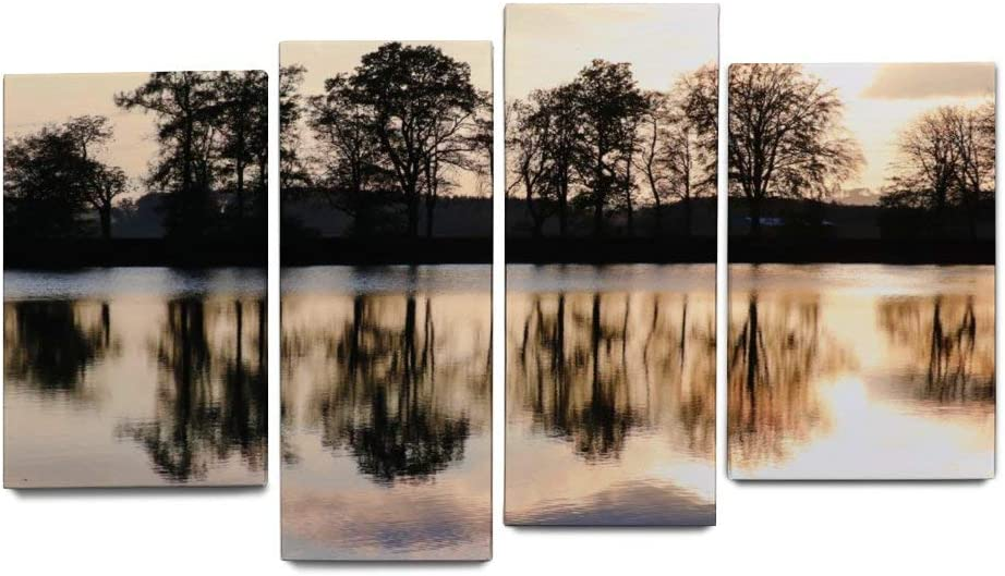 NOAON Ready to Hang Canvas Prints for Home Decor Wall Art Lake Lakeside Trees Evening Sun Sunset Mirroring Office Wood Framed Irregular