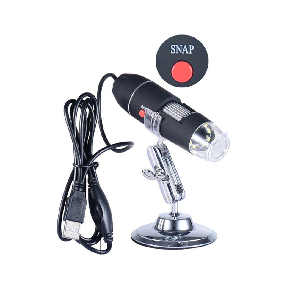 UEETEK Microscopio electr/ónico USB port/átil 40X-1000X Microscopio electr/ónico con 8 LED luz y soporte de plata