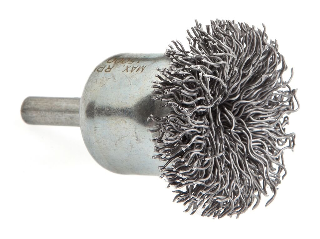 Forney 72267 End Cup Brush, Coarse Crimped Circular Flared with 1/4' Shank, 1-1/2' Coarse Crimped Circular Flared with 1/4 Shank 1-1/2