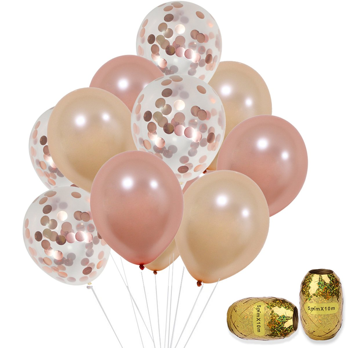 Rose Gold Confetti Balloons Set 12 inch Helium Champagne Rose Gold Latex Balloons for Birthday, Weddings, Baby Shower Party Decorations 30pcs by KUMEED