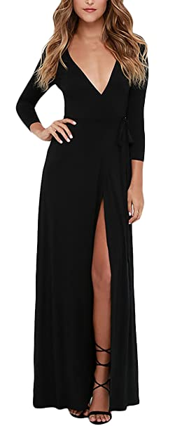 Vestidos Mujer Vestidos De Fiesta Largos De Noche Elegantes Manga Larga Dresses Señoras Moderno V Cuello Slim Fit Vintage Moda Fiestas Vestido Coctel ...