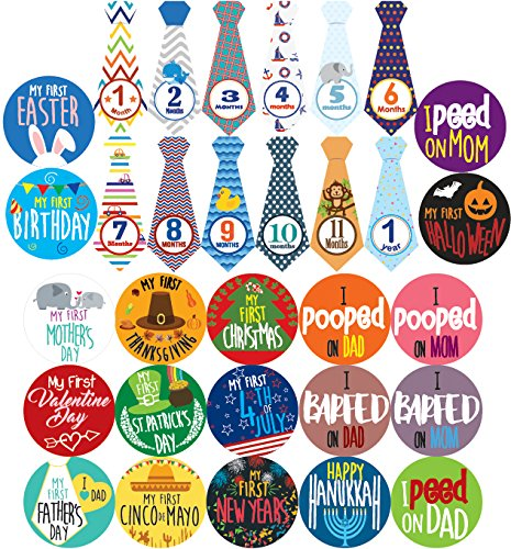 Baby Boy Monthly Milestones, Baby's First & Holiday Sticker Pack - Baby Shower Gifts for Boys - Photo Props