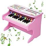 HOTYARD Kids' Piano, 25 Keys Wood Toy Piano, with Mechanical Sound (Pink)