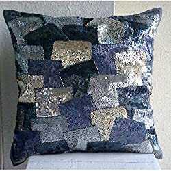 Handmade Silver Sequins Beaded Throw Pillows Cover