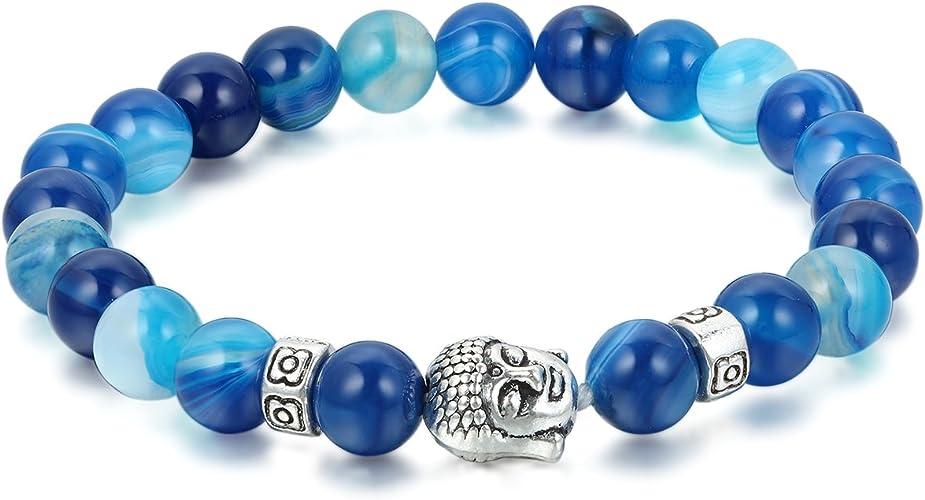 Pulsera de Cuentas agatas de Azul del mar Buda Color Plata tibetana Budista, Pulsera Fresca de Abalorios para Mujer, Adorno de Verano