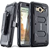 Samsung Galaxy J3 (2016) / J3 V / Sky / Amp Prime / Express Prime, COVRWARE [Aegis Series] w/ Built-in [Screen Protector] Heavy Duty Full-body Rugged Holster Armor Case [Belt Clip][Kickstand], Black