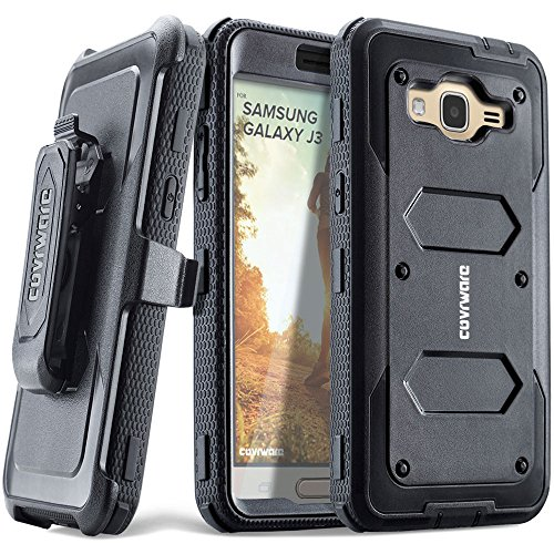 Samsung Galaxy J3 (2016)/ J3 V/Sky/ Sol/ j36/ j36V/Amp Prime/Express Prime, COVRWARE [Aegis] Built-in [Screen Protector] Heavy Duty Full-Body Rugged Holster Armor Case [Belt Clip][Kickstand], Black