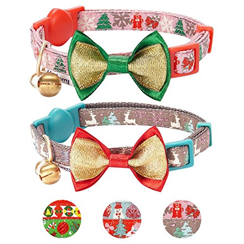 Christmas Cat Collar - Blueberry Pet Pack of 2 Cat Collars, The Power of Lavish Holiday Blessed Christmas Trees Adjustable Breakaway Cat Collar with Bow Tie & Bell, Neck 9