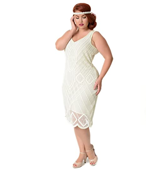 Unique Vintage Plus Size 1920s Style Ivory Beaded Dorothea ...