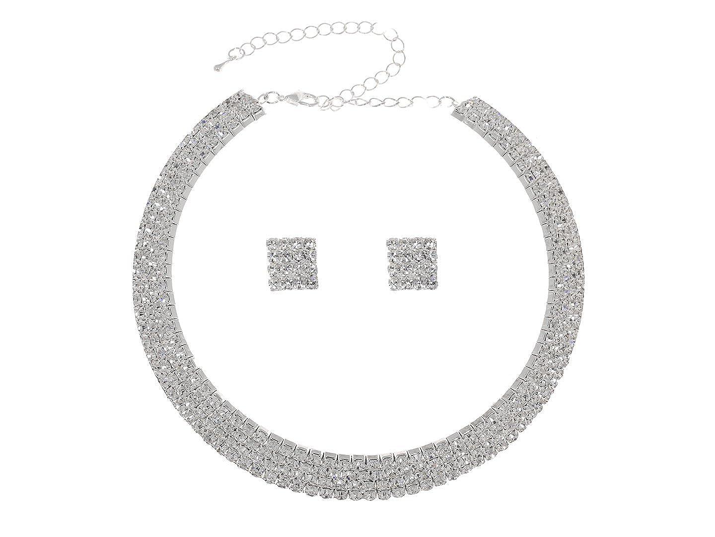 Venus femmes Élégant Jewelry Parure Collier Ras de Cou Boucles d'oreilles Cristal de Neklace Coffret 4 Rangées CN6 strass Venus Jewelry SAMKY-CN6