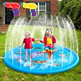 "MIBOTE 68"" Sprinkler Pad & Splash Play Mat for Kids, Toddler Sprinkler Water Toys Inflatable Outdoor Swimming Pool Toy for Boys Girls (Includes 2 PCs Mini Water Gun)"