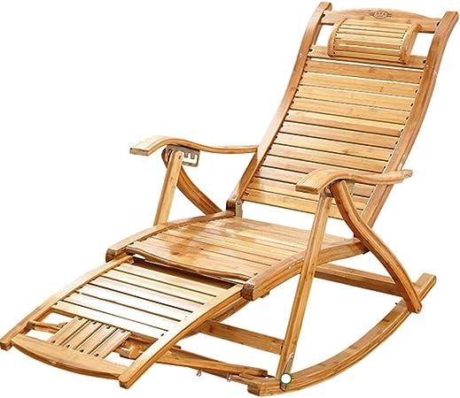 Bambú Mecedora Sillón Plegable Ajustable Sillón Reclinable Al Aire Libre Silla De Jardin Sillón Viejo con Un Masaje De Pies, con Almohadilla De Algodón Extraíble: Amazon.es: Hogar