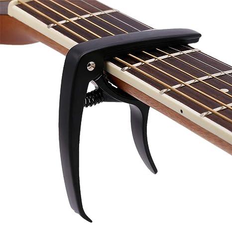 Cejilla de guitarra para guitarra acústica y eléctrica con abrazadera de cambio rápido, acolchado de