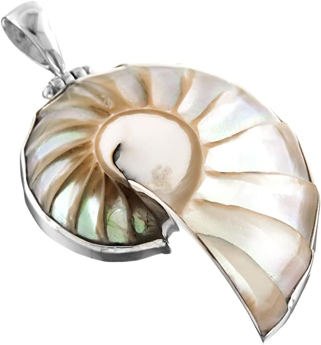 Nautilus shell necklace Austrian crystal and freshwater pearls 20 inches long sterling silver chain