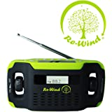 NEW Re-Wind Wind-Up Solar Powered Rechargeable Portable AM/FM Radio with built-in LED Torch and USB Charging Port (Cable Included) - No Batteries Required - LCD Display, Alarm Clock, Headphone Socket