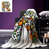 smallbeefly Letter R Digital Printing Blanket Realistic Looking Volleyball Basketball Soccer Balls Language of the Game Theme Summer Quilt Comforter Multicolor
