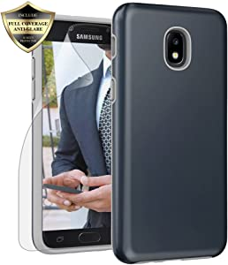 Galaxy J3 Orbit/ J3V J3 V 3rd Gen/Express Prime 3/ J3 Star/ J3 Achieve/Amp Prime 3/ J3 Aura/Sol 3 Case, Androgate Hybrid Matte Cover Case with Screen Protector for Samsung Galaxy J3 2018, Dark Blue