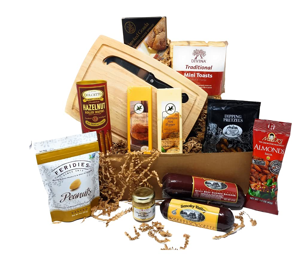 Gourmet Cheese and Sausage Gift Basket Gift Box Set - Christmas Party Gift, Fathers Day, Birthday, Holiday Food Baskets, Gift for Dad, Gift for Men, Husband