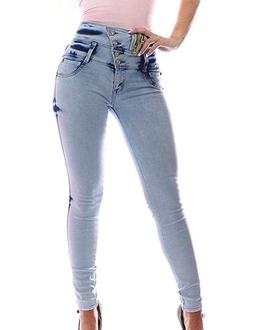 FARINA® 1662 Denim Pantalones, Vaqueros de Mujer, Push up/Levanta Cola, Pantalones Vaqueros Elasticos Colombian,Color Azul cralo,Talla 34-48/XS-3XL