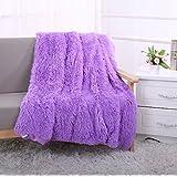 YOUSA Super Soft Long Shaggy Fuzzy Fur Faux Fur Warm Elegant Cozy With Fluffy Sherpa Throw Blanket 51''*63'',Purple