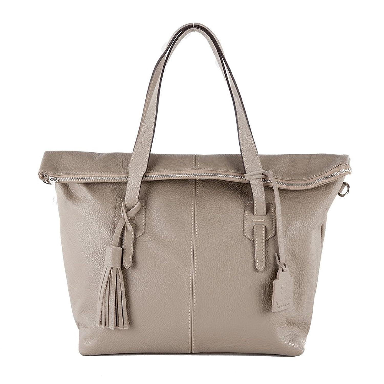 Handbag, Flavia Beige,?Leather, Dimensions in cm: 43 l x 30 h x 13 p, Anna Cecere