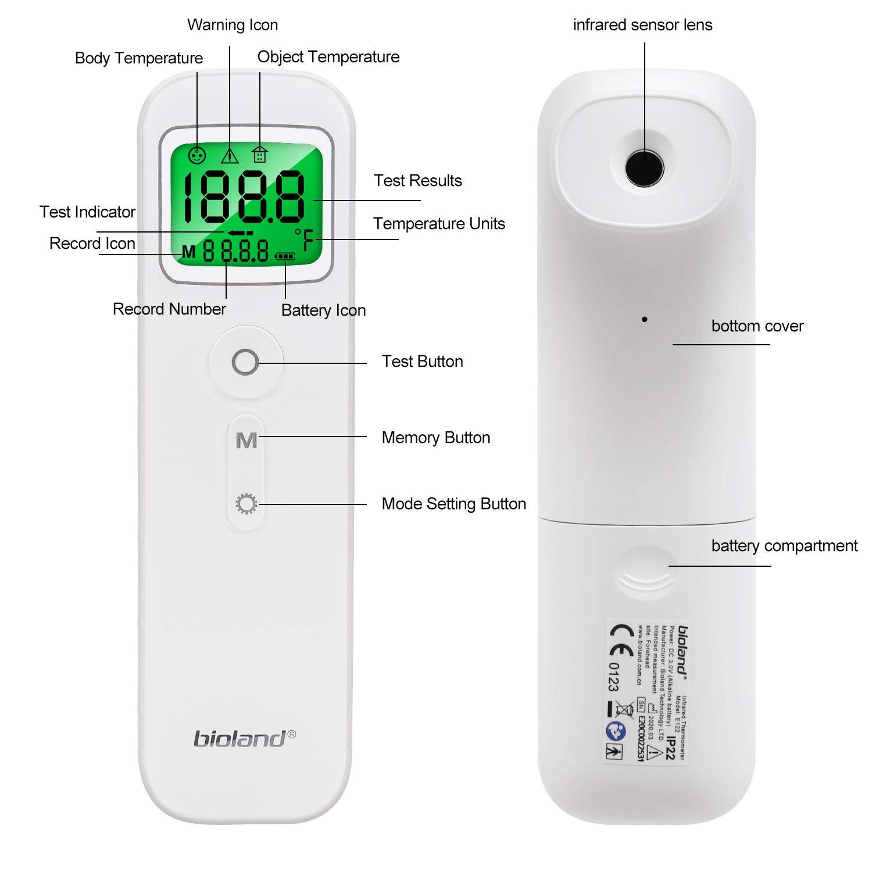 Term/ó-metro Infrarrojo Digital con Alarma de Fiebre para Beb/és Adultos Mbuynow Term/ó-metro de Frente Sin contacto UK Stock