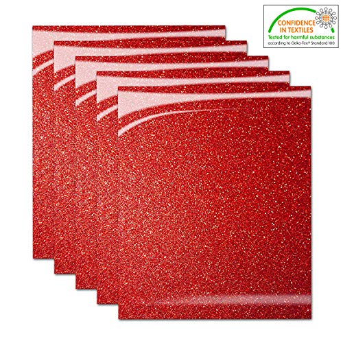 Pumpkin Brother Red Shiny Glitter Heat Transfer Vinyl Iron On HTV Bundle for DIY Clothes, 12x10 Inch, Pack of 5 Sheets, Eco-Friendly Made in Korea