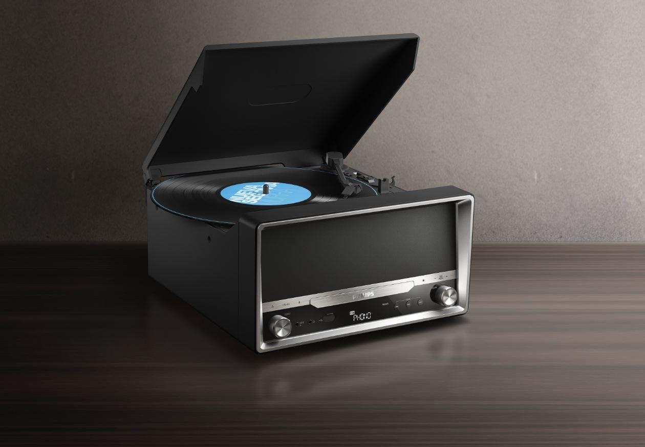Philips OTT2000B/12 - Radio con Bluetooth (reproducción de vinilos, 4 W), Negro