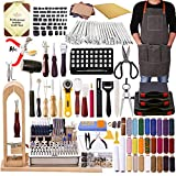 308Pcs The Most Complete Leather Working Tool Set BUTUZE 52Pcs Punch Cutter Tools, Letter and Number Stamp Set,Stamping Set, Leather Apron,Tanned Leather and Instruction for Beginner and Professional