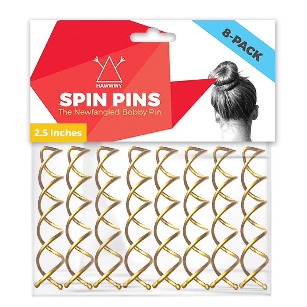 Hawwwy Spiral Bobby Pins 8 Pack Spin Pins, Easy & Fast Bun Twist Screws, Bun Maker, Hair Pin for Women, Blonde Updo Accessories Messy Bun Perfect Bobbypins Bobby Pin Bobypin Bobbie Gold (2.5 Inches)